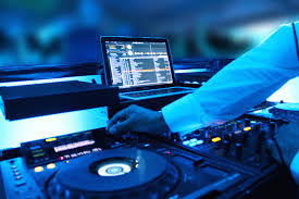 dj working in blue
